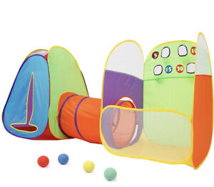 NEW Kids Play Tent - Tunnel - Ball Throw 3 in 1 Game Zone Toys Playhouse Pop Up