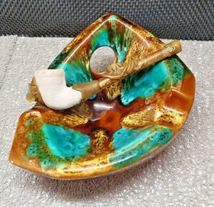Antique Ashtray vallauris Multicolored Plus Pipe With Stones Color Matching