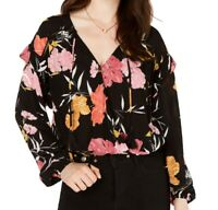 Guess Women Blouse Black Multi Size Small S Floral Tie-Front Ruffle-Trim $79 605