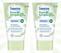 2 Coppertone Pure & Simple Botanicals Face SPF 50 Sunscreen Lotion 2 OZ