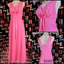 """Vtg Vanity Fair Nightgown, Coral Pink Tricot w/Lace Bust Shelf & Sheer Back,34""""B"""