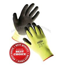 Best Nylon Work Gloves Yellow Knit Latex Rubber Dipped Coated Palm 3 Pair Lot