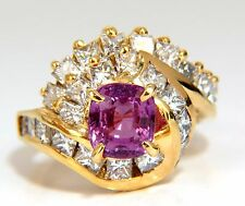 GIA Certified 3.82ct Natural No Heat Pink Sapphire Diamonds Ring Bypass Deco