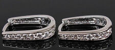 Earrings 9ct White Gold GF Diamond Huggie Hoops Horseshoe Gift Mother 13 mm
