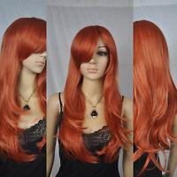 Orange Red Long Wavy Straight Cosplay Costume Comic Con Full Hair Costume Wig