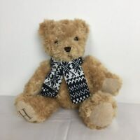 """W H Smith Henry Brown Teddy Bear Plush Soft Toy With Navy and White Scarf H 14"""""""