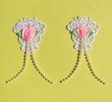 2 White Lace Appliques With Pink Satin Roses And Tails - EM2