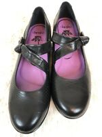 DANSKO Diedra Mary Jane BLACK Leather Wedge Shoes Hook Loop EU 40
