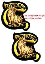 """LIVE-to- RIDE HOG BIKER RIDE-to-LIVE HOG JACKET 3"""" BIKER FUNNY JOKE RIDE 2-PATCH"""