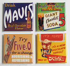 Chocolate Soda Sign FRIDGE MAGNET Set (1.5 x 1.5 inches each)