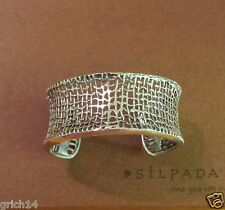 SILPADA WIDE OXIDIZED STERLING SILVER CUFF BRACELET B1625 RETIRED