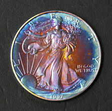 1997 RAINBOW TONED AMERICAN SILVER EAGLE * NICELY TONED * SEE PICTURES *