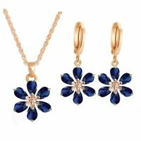 Party Flowers Bridal Jewelry Sets Necklace Earrings Gold Color Women Dangles
