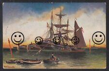 354R Künstler AK  Alfred Jensen Segelboote  Abbringungsversuche durch Leichtern