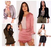 Womens Faux Suede Ruffle Frill Hems Open Front Peplum Office Coat Blazer Jacket