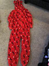 Next Girls Reindeer OnePiece Romper Pyjama Fleece All in One Xmas 10 Years Red