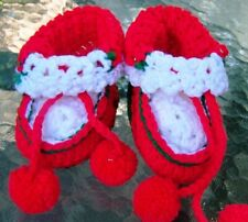 CHRISTMAS ORNAMENT - PAIR CROCHETED BOOTIES - DECORATION STUFFABLE WITH POM POMS