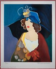 """Extremely Rare Itzchak Tarkay Signed Serigraph """"Debbie with Hat"""" Gallery Framed!"""