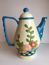 Mary Engelbreit Me 2003 Ceramic Full Size Tall Teapot White Flower Floral