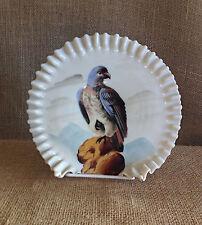 Handpainted Hawk Bird of Prey Handblown Ruffled Glass Bowl Victorian Brides Dish
