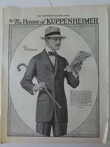 1917 the House of kuppenheimer Biltmore men's suit cane bow tie vintage ad