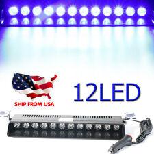 12 LED Car Dash Emergency Strobe Flash Light Bar Truck Warning Signal Lamp BLUE
