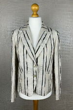 TUZZI Damen Gr. 42 Blazer Jacke Jacket hell Beige Crash Gold gestreift Fest #306