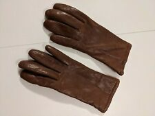 Vintage Acrylic Lined Soft Brown Leather Gloves Size 8