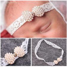 Charm Baby Newborn Infant Lace Pearl Mini Bow Headband Dainty Diamond Hairband