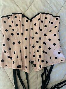 Honey Birdette Corset Medium M baby pink black velvet polka dot lace up bustier
