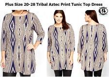 Round Neck Plus Size Geometric Mini Dresses for Women