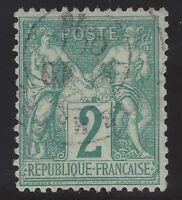n°62 Sage 2c vert type I oblitéré Cachet 1876 classique TB - Signé Calves