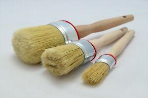 60 35 20 OVAL Paint Brush Set 3 Shabby Chic Chalk Paint Pure Bristle Brush, Wax.