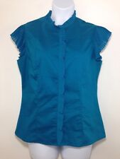 Worthington Stretch Blouse Top Shirt Button Front Sleeveless Ruffled Casual L
