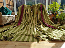 "HUGE  MOIRE SILK  INTERLINED CURTAINS  107"" DROP BY 70"" WIDTH & TIEBACKS"