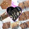 Bracelet Bijoux Doré Or Argent Pendentif Anneaux Chaîne Coeur Cadeau Femme
