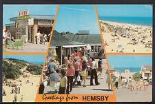 Norfolk Postcard - Greetings From Hemsby - Bingo / Beach & Shop DR596