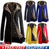 Winter Ladies Womens Long Sleeve Zip Up Leopard Print Coat Hooded Jacket Coat US