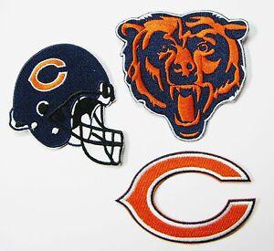 LOT OF (1) NFL CHICAGO BEARS LOGO, (C) & HELMET PATCHES ITEM # 04