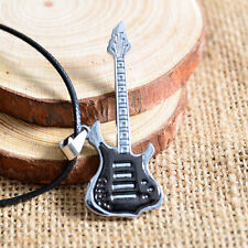 New Fashion Men Guitar Pendant Black Stainless Steel Charm Necklace Jewelry Gift