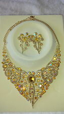 AB Diamante crystal Necklace & earrings set wedding prom new set E