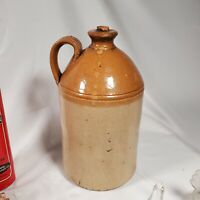 "BIG! 14""ANTIQUE PRIMITIVE #9 STONEWARE YELLOW TAN JUG SALT GLAZED CROCK pottery"