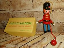 Christmas Tree Ornament Wooden Wood Vintage Pop-Up Soldier String Pull Toy