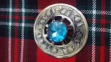 écossais Kilt MOUCHE Plaid Broche bleu ciel Pierre / chardon antique