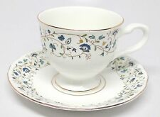 Queen Anne Bone China - Blue Flowers & Vines - Cup & Saucer Set - India