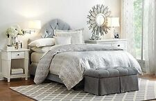 NEW Home Riley Fleur de Lis BEDDING SET Metallic Silver Queen Duvet 2 Euro Shams