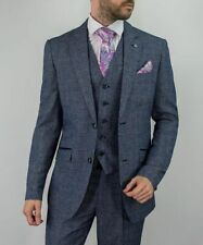 Mens Cavani Light Blue Tweed Herringbone Wedding Lined Formal 3 Piece Suit