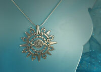 """TAXCO Aztec SUN CALENDAR Pendant Necklace/Pin 2.25"""" 1950s STERLING Signed FAB!"""