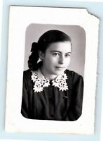 Vintage photo Portrait pigtail HAIR Beautiful girl woman Soviet USSR S05