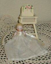 """ANTIQUE 2 1/2"""" ALL-BISQUE CANDY BABY, MARKED """"67  GERMANY"""", WITH HIGH CHAIR"""